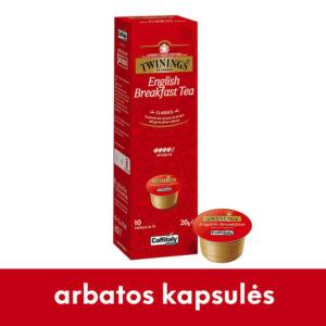 anglų pusryčių juodosios arbatos kapsulės Twinnings Caffitaly sistemoms